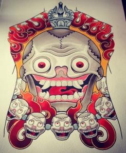tibetan skull backpiece